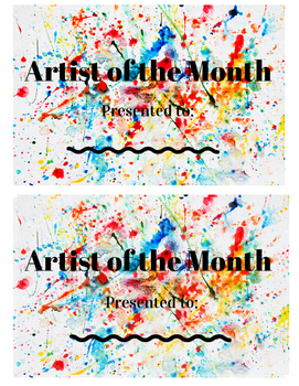 Artist of the Month Award