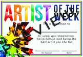 Artist of the Week certificate