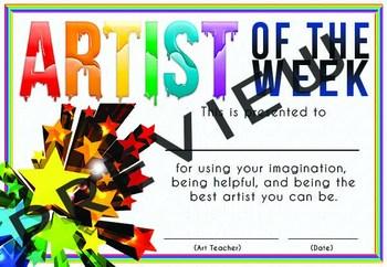 Artist of the Week certificate