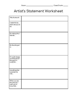 Artists Statements Worksheets Teachers Pay Teachers