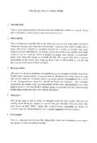 Artistic Critique/Critical Essay Structure