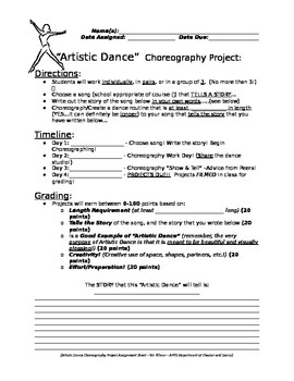 Artistic Dance Style Choreography Project - Short and Sweet!