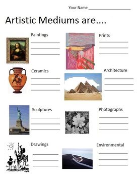 Art is ....Artistic Mediums   (6 pages, includes Teachers Guide)