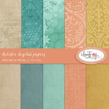 Artistic digital scrapbook papers and backgrounds