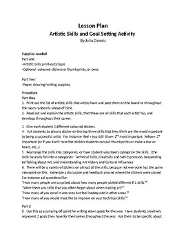 Artistic skills awareness lesson and goal setting