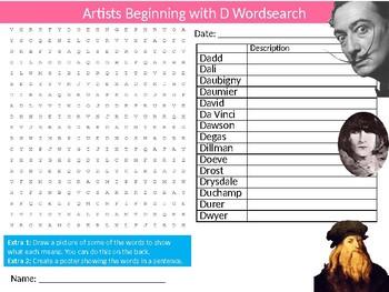 Artists Beginning with D Wordsearch Sheet Starter Activity Keywords Art History