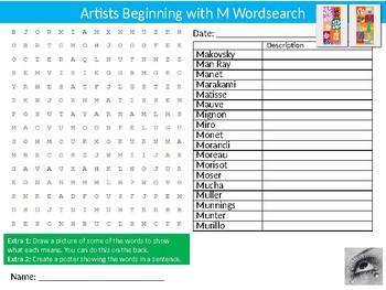 Artists Beginning with M Wordsearch Sheet Cartoon Starter Activity Art