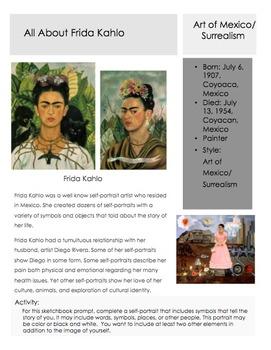 Frida Kahlo Sketchbook Prompt