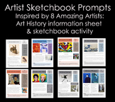 Sketchbook Prompts inspired by Artists Bundle:Middle and H
