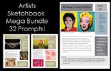 Artists-32 Sketchbook Prompts Mega Bundle:Middle and High