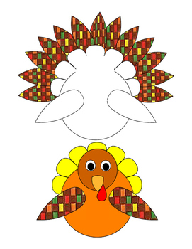 Arts Crafts Cut Paste Color Colorful Turkey Options Bulletin Board Printable 14p