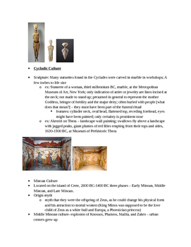 Arts & Humanities Aegean, Cycladic, Ancient Greek teacher guided lecture notes
