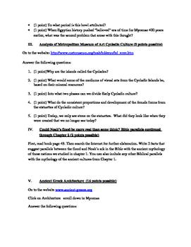 Arts & Humanities Aegean, Cycladic, Ancient Greek webquest