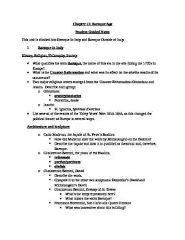 Arts & Humanities Baroque Age - student guided notes