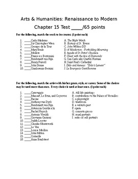 Arts & Humanities Baroque Era TEST