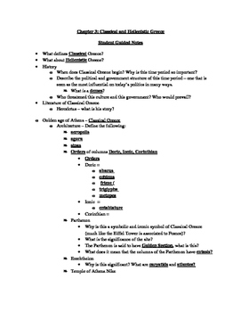 Arts & Humanities Classical and Hellenestic Greece - student guided notes