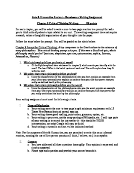Arts & Humanities Classical and Hellenistic Greece Critical Writing Assignment