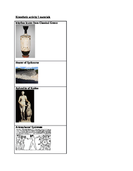 Arts & Humanities: Classical and Hellenistic Greece kinesthetic activity