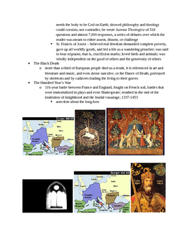 Arts & Humanities Early-Late Middle Ages - teacher guided lecture notes