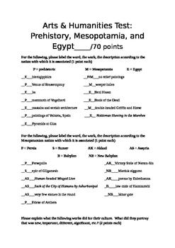 Arts & Humanities Prehistory, Mesopotamia, Egypt - TEST KEY