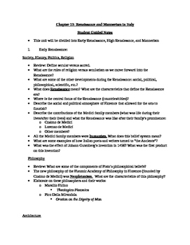 Arts & Humanities Renaissance and Mannerism - student guided notes