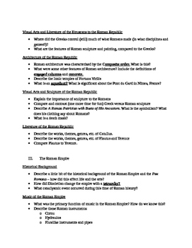 Arts & Humanities Roman Civilization - student guided notes