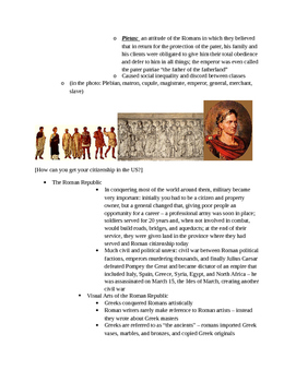 Arts & Humanities Roman Civilization - teacher guided lecture notes