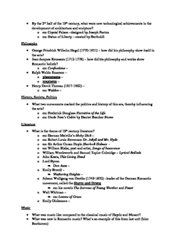 Arts & Humanities Romanticism and Realism - student guided notes