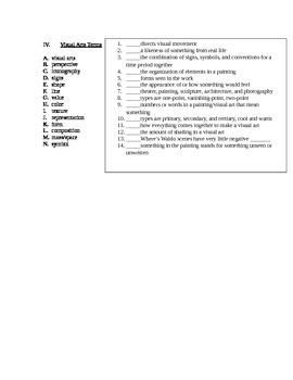 Arts & Humanities Starter Kit - vocabulary quiz part 1