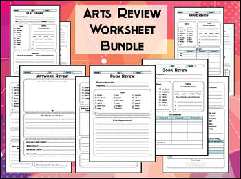 Arts & Literature Review Worksheet Bundle