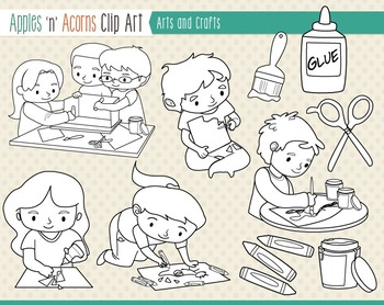 Arts and Crafts Clip Art - color and outlines