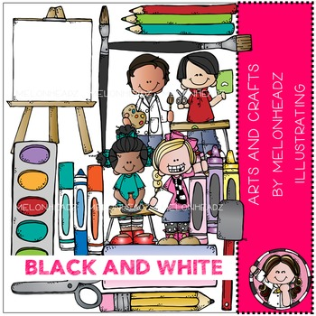 Arts and Crafts clip art - BLACK AND WHITE- by Melonheadz