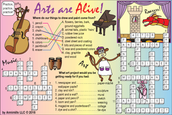Arts are Alive (Different Art Forms) Two-Page Activity Set