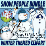 "CLIPART - ""Winter Snow People"" - Snowman - PNG clipart BUNDLE - Arts & Pix"