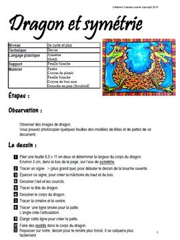Arts plastiques et mathématiques : Dragon et symétrie.