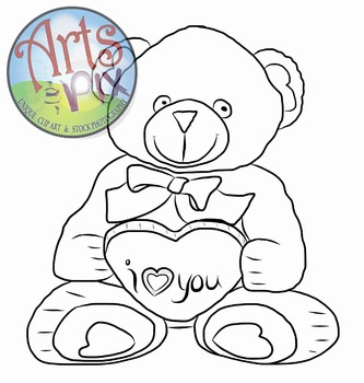"""ClipArt - """"Valentine Teddy Bear"""" - PNG ClipArt - Valentine's Day - Arts & Pix"""