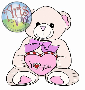 "ClipArt - ""Valentine Teddy Bear"" - PNG ClipArt - Valentine's Day - Arts & Pix"
