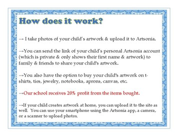 Artsonia Information For Parents