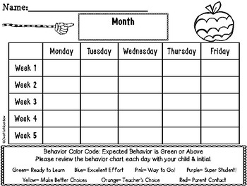 Artsy Apples Behavior Clip Chart