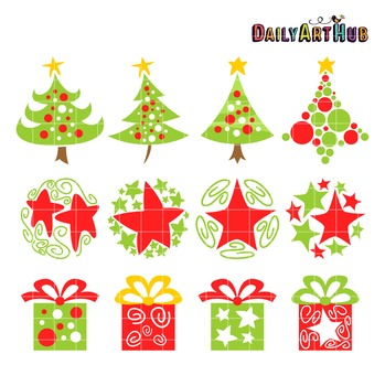 Artsy Christmas Clip Art - Great for Art Class Projects!
