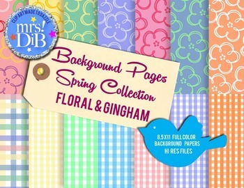 Artwork  - Floral/Spring Patterned Papers, Borders and Icons !