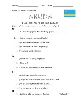 """Aruba """"La isla felíz de los niños"""" Activity Packet"""