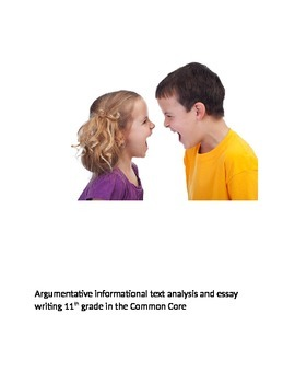 Arument analysis and writing in the Common Core