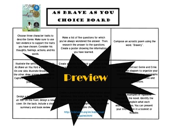 As Brave as You Choice Board Novel Study Activities Menu Book Project