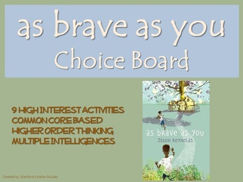 As Brave as You Choice Board Novel Study Activities Book P