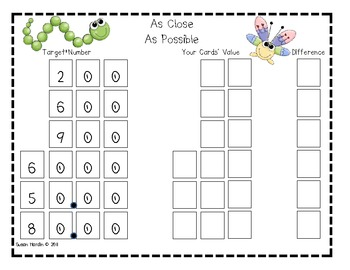 As Close As Possible Subtraction and Place Value Math Game