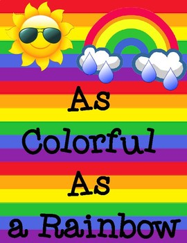 As Colorful As a Rainbow Simile Poetry Illustration Frame