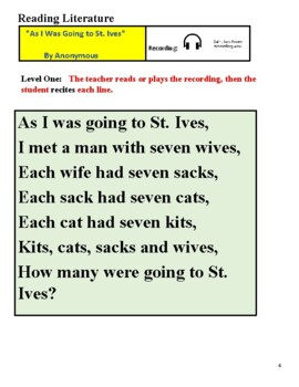 """""""As I Was Going To St Ives"""" for Students with Blindness w/ Braille - Poetry"""