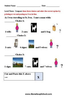 K - 2 As I Was Going to St. Ives for Students with LD - Learning Disabilities