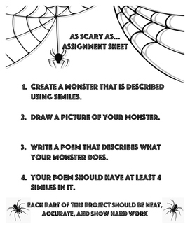 As Scary As... Simile Monster and Poetry Activity